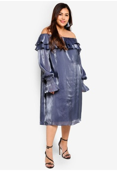 c9caf678c5a9c ELVI grey Plus Size Sukie Iridescent Bardot Dress 451E8AAE9B271CGS 1