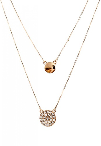 LOVENGIFTS gold LOVENGIFTS Greek Pave Disc Layered Necklace LO429AC34RORMY_1