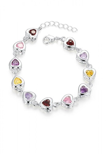 Glamorousky silver Sweet Heart Bracelet with Colorful Cubic Zircon 016F6AC8890BE0GS_1
