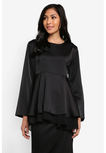 BYN black 2 Layer Flare Peplum Blouse BY059AA29VKSMY_1