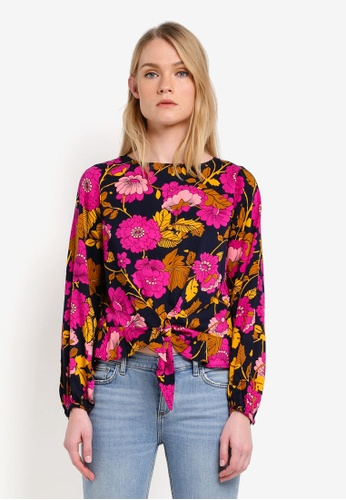 Mango blue and navy Floral Print Blouse MA193AA0RK8MMY_1