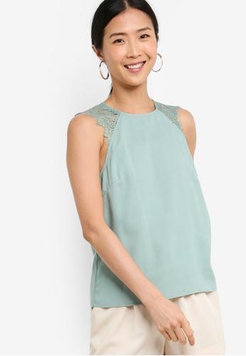 ZALORA BASICS green Basic Lace Sleeves Top 42141AA59ED1E9GS_1