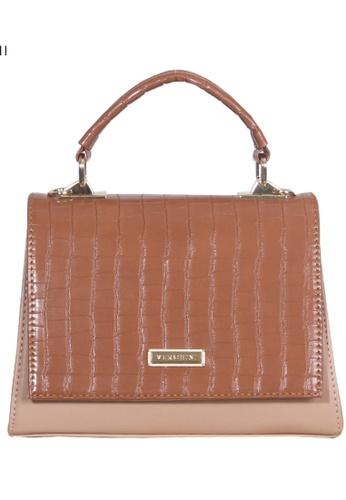 Verchini beige Verchini Croc-Effect Structured Top Handle Bag 96041ACB0A72DFGS_1