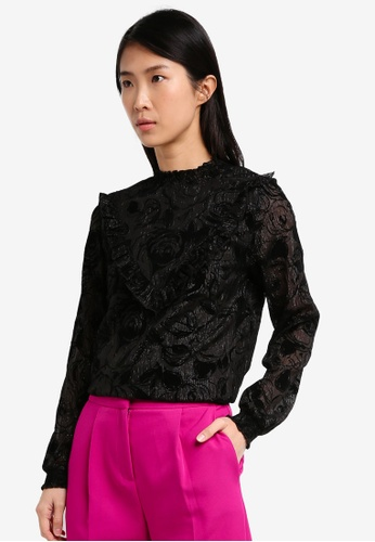 ONLY black ONLY ONE Luxo Frill Woven Top ON573AA0SKRKMY_1