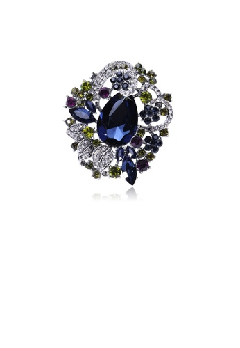 Glamorousky white Fashion and Elegant Geometric Flower Brooch with Blue Cubic Zirconia 8FA03ACEBF7136GS_1
