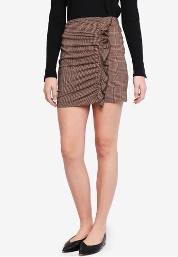 Mango brown Checked Skirt 1C6C3AA016CDAAGS_1