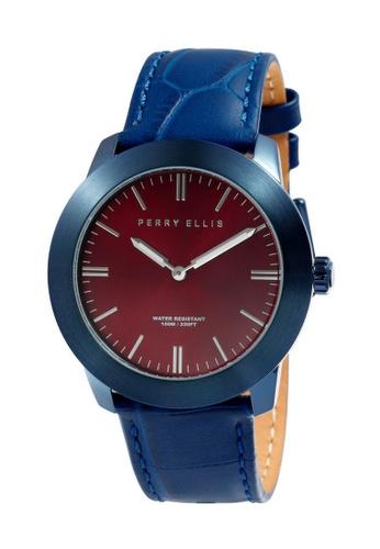 PERRY ELLIS blue Perry Ellis Slim Line Unisex 42mm Quartz Watch 07012-01 BA980AC8932561GS_1