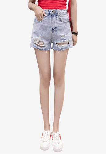 Lara blue Women's Denim Ripped Shorts F5AEDAAD5BC216GS_1