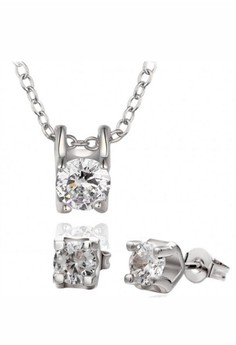 Roxanne Diamond White Gold Plated Necklace and Earrings Set