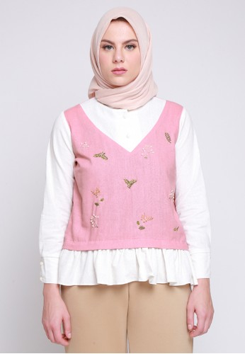 House of Laiqa white and pink Laiqa Haru Embroidered Top Creamy Pink 26BCAAA8174BDCGS_1