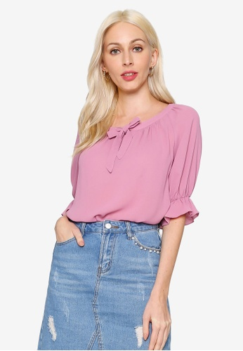 Hopeshow pink Wide Collar Chiffon Blouse with Collar Ribbon 8CF9CAAC15B803GS_1