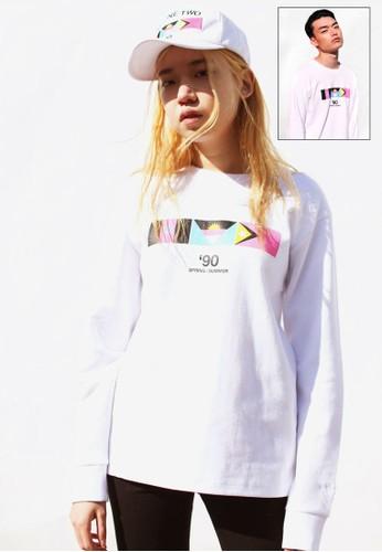 9 by 91,2 NINE 旗幟印esprit tw花長袖衫, 服飾, 運動T恤