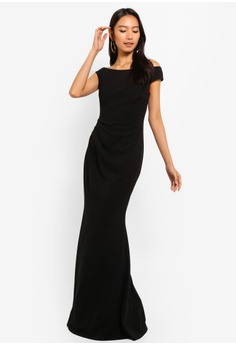 6ed02e644b41 Goddiva Fishtail Maxi Dress With Pleating Detail S  87.90. Available in  several sizes