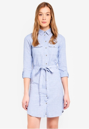 Dorothy Perkins blue Chambray Linen Shirt Dress 8F82AAA715C190GS_1