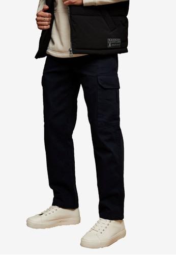 Topman navy Navy Herringbone Skinny Cargo Trousers 1894DAAD6B84CDGS_1