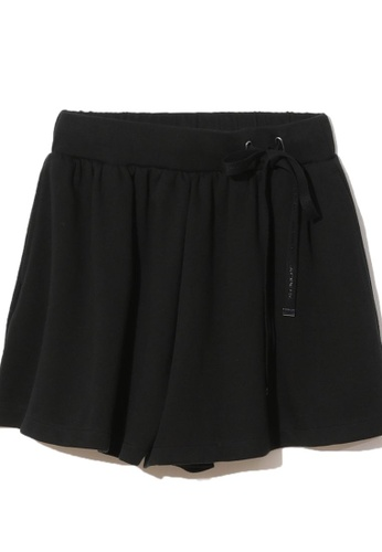 MUSIUM DIV black Drawstring tie loose fit shorts CC0A5AA9605526GS_1