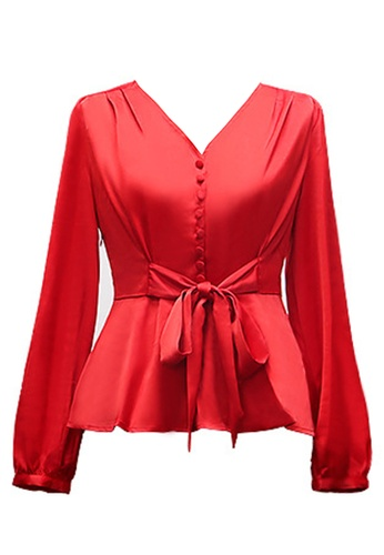 Twenty Eight Shoes red VANSA  Tie Front Long Sleeves Blouse  VCW-Bs8302 6070AAA768FFB9GS_1