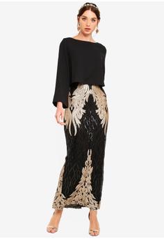 45cd2d916c5 Zalia Placement Sequin Double Layer Column Dress RM 289.00. Sizes XS S M L  XL
