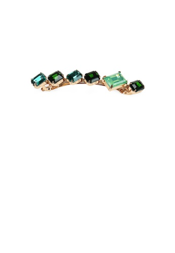 Glamorousky green Simple Fashion Plated Gold Geometric Square Green Cubic Zirconia Hair Clip 84DF8AC7C42EC9GS_1