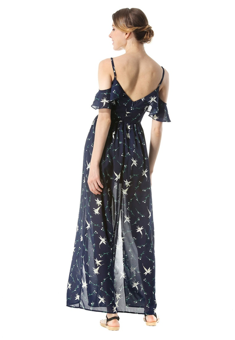 e414d68d5eea ... Slit Blue Piece New Dress Chiffon Side One UA112305BL Slip Blue  Sunnydaysweety g1wtB