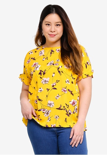 Only CARMAKOMA gold Plus Size Printed Short Sleeved Top E99AEAA03C228AGS_1