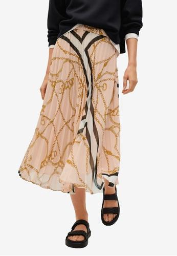 Mango pink Chain Print Pleated Skirt E5E52AA5C83818GS_1