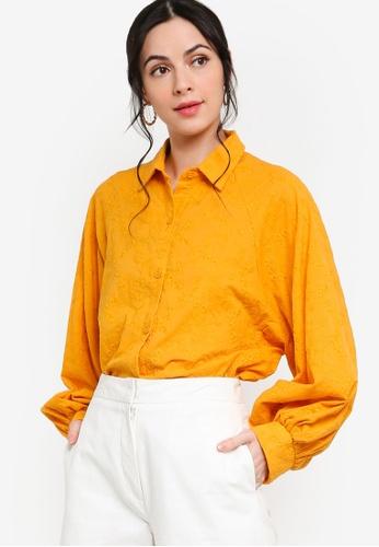 Zalia yellow Embroidery Batwing Puff Sleeves Shirt 57EA1AAF9FE262GS_1