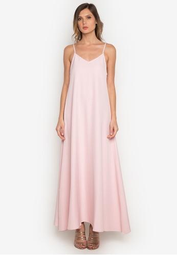 NOBASIC pink Slip A Line Maxi Dress 56F22AA982E26AGS_1