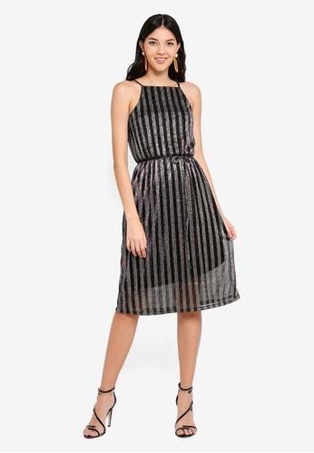 0a843255de Shop WAREHOUSE Metallic Rainbow Stripe Dress Online on ZALORA ...