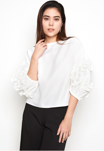 Nichii white Ruffled Balloon Sleeve Blouse 0455FAA4D862CFGS_1