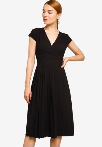 ZALORA WORK black Pleat Detail Midi Dress E2518AA505D4DEGS_1