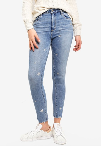 Abercrombie & Fitch navy Star Print Simone Hr Ankle Jeans 8E568AA08721E7GS_1