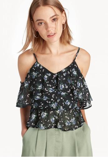 7327e994474397 Shop Pomelo Off Shoulder Sheer Strap Top - Black Online on ZALORA ...