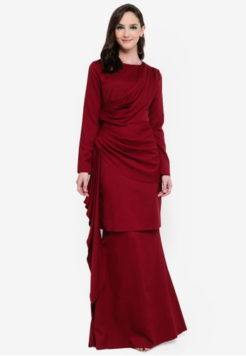 Leilani Side Drape Kurung from Syaiful Baharim in Red