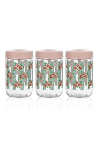Herevin Herevin 3 Pcs 1000ML Decorated Canister Set / Storage Jar Set / Container Set / Balang Kuih / Balang Kuih Kaca - Belinda AD259HLF2A9937GS_1