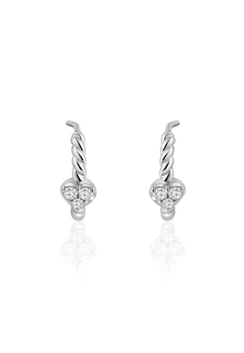 MaBelle silver 18K/750 White Gold Diamond C Shaped Twisted Earrings 3A980ACAB36BA8GS_1