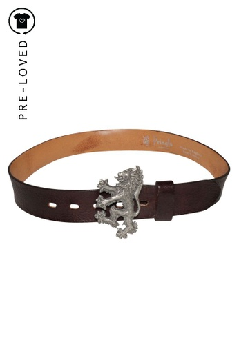Pringle Of Scotland brown Pre-Loved pringle of scotland Brown Leather Belt with antiqued silver-tone logo lion peg buckle 46B3FAC36EC5E2GS_1