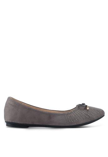 Bata 灰色 麂皮鑽飾平底鞋 C7282SH6F818EEGS_1