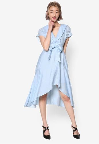 裹飾V 領繫帶過膝連身裙, esprit 高雄服飾, 洋裝