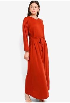 e08750a0074f ZALIA BASICS red Tie On Dress 208E8AAA23B3D6GS_1