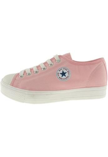 Maxstar 粉紅色 新款韩国鞋C1-6H時尚帆布布混合女粉紅色 US Women Size MA345SH13GWOTW_1