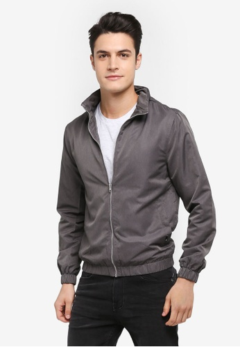 Burton Menswear London grey Grey Funnel Neck Lightweight Jacket 3E794AA8BB5873GS_1