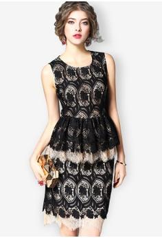 Sunnydaysweety black New Full Lace Lotus Leaf Vest Dress 4D05CAA5A35BDAGS 1 4d60784c0