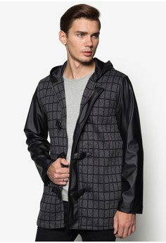 XM-Clasp Opening Checkered Coat With Hood