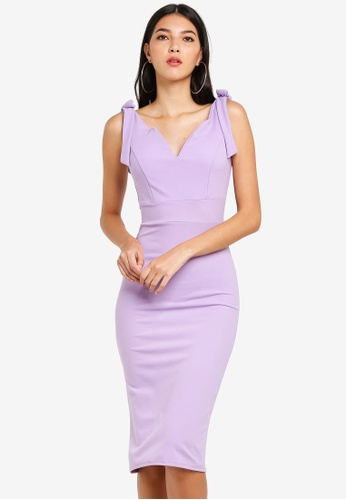 WALG purple Midi Dress With Shoulder Bow Detail 552EFAAFC0306BGS_1