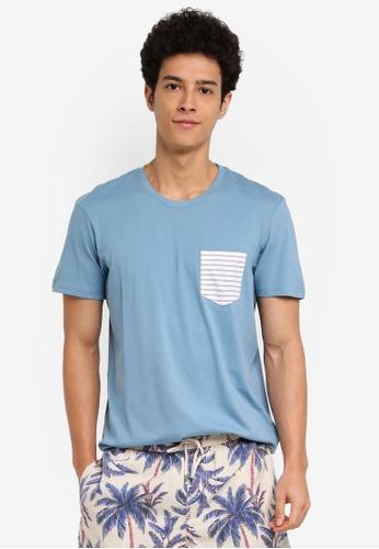 Cotton On 藍色 短袖印花口袋T恤 9E661AAC64F306GS_1