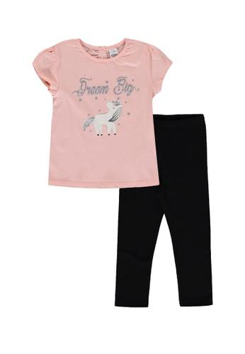 LC Waikiki pink Baby Girl's Printed T-Shirt and Leggings Set 881B3KA6D0E4E3GS_1