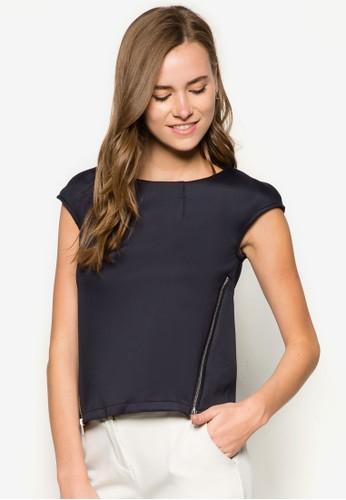側拉鍊短袖上衣, 服zalora taiwan 時尚購物網飾, 上衣