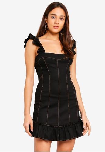 INDIKAH black Ruffle Paneled Sheath Dress 2C374AA64AE962GS_1