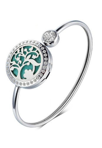 YOUNIQ silver YOUNIQ 316L Stainless Steel Silver Aroma Oil Perfume Magnet Open Bangle Bracelet 14A73AC328A6B5GS_1